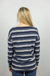Blue Stripe Off the Shoulder