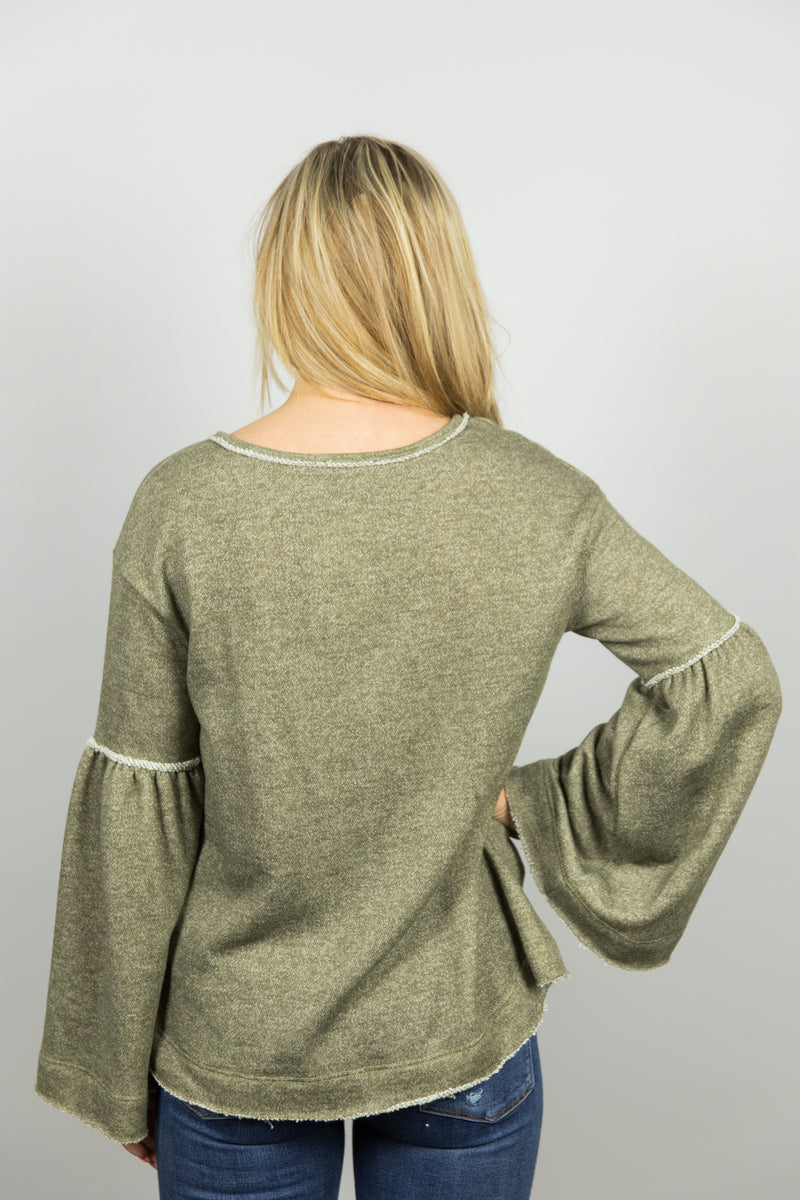 Olive Bell Sleeve Top