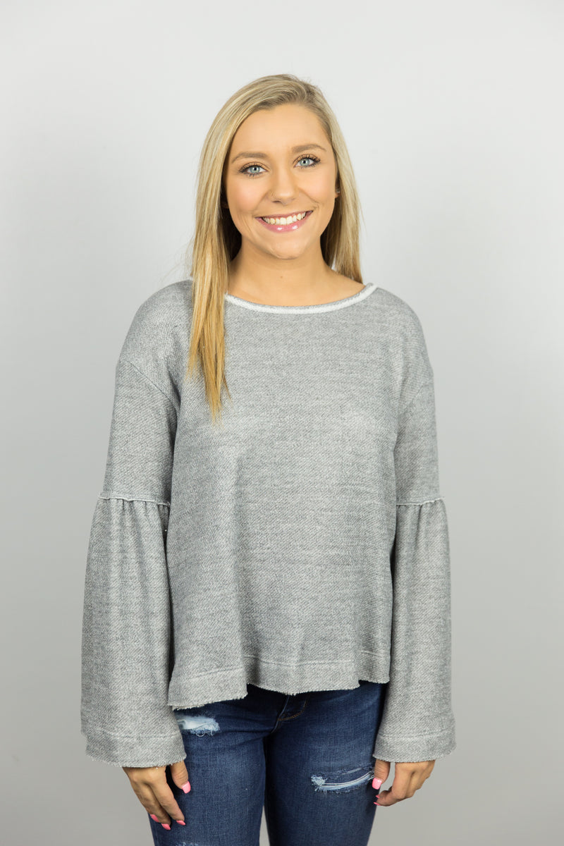 Gray Bell Sleeve Top