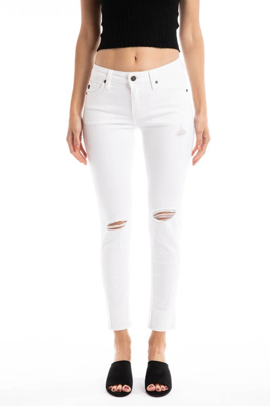 Kan Can White Distressed Jean