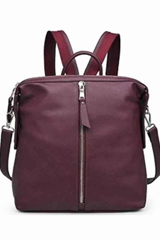 Pebbled Vegan Leather Backpack in Burgundy