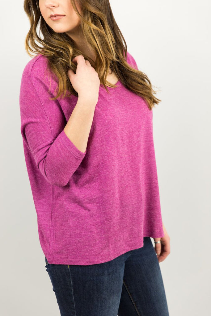 Elysian Basic 3/4 Sleeve Top in Fuchsia