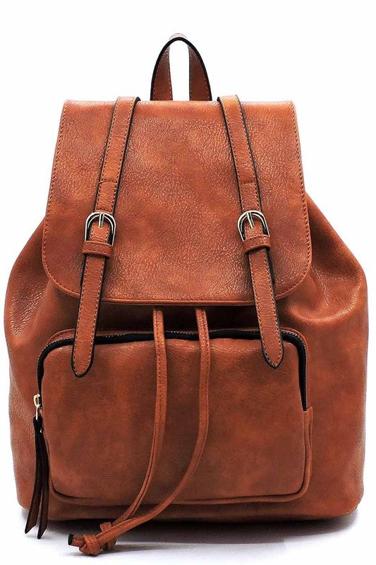 Fashion Belted Flap Backpack Faux vegan leather Drawstring closure