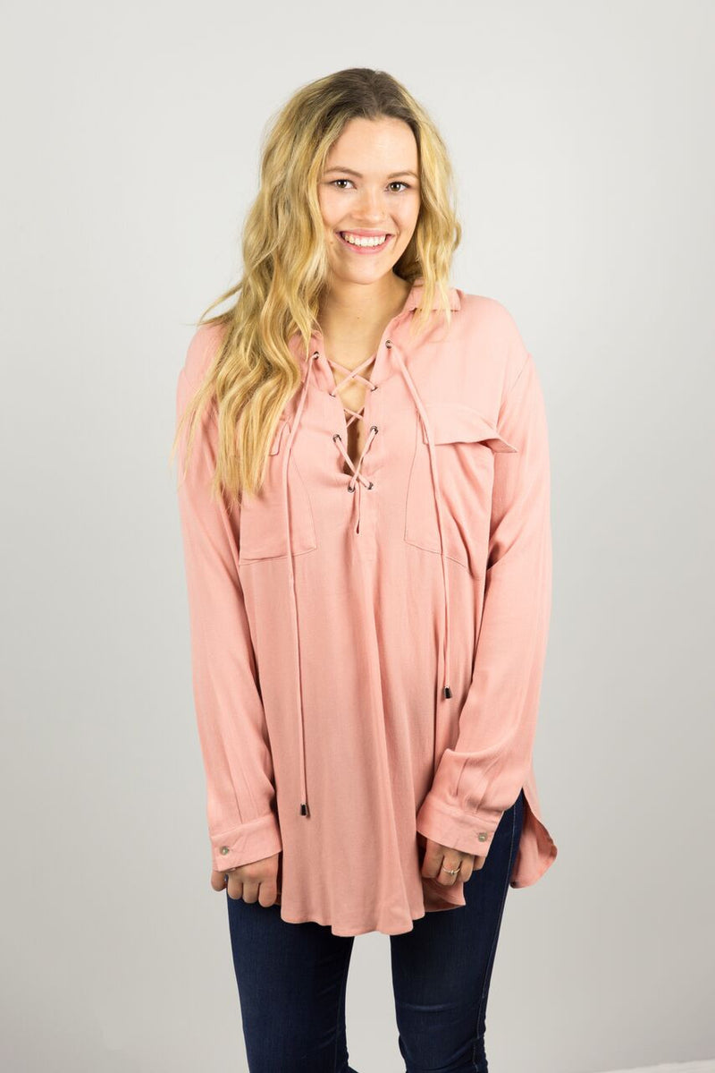 Lace Up Long Sleeve Shirt