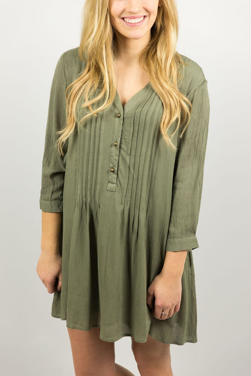 Elysian Olive Button Dress