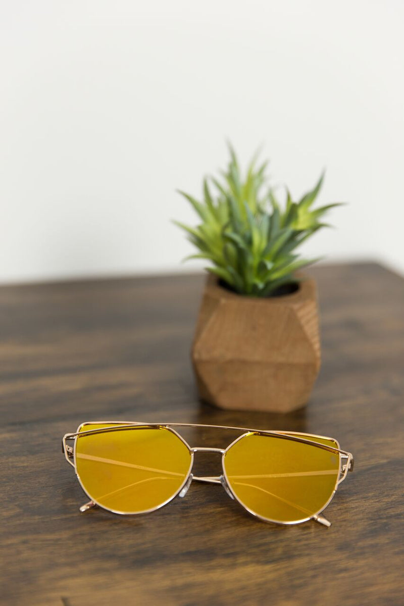 Gold Rimmed Sunnies with Mirrored Lenses