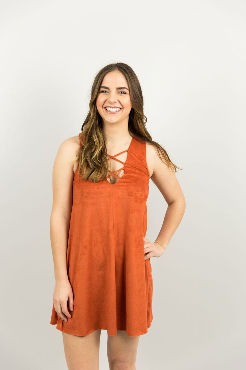 Elysian Suede Criss Cross Dress