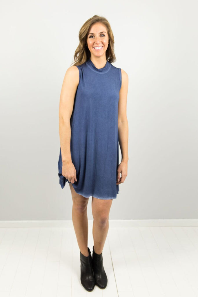 Elysian High Neck Swing Dress in Denim Blue