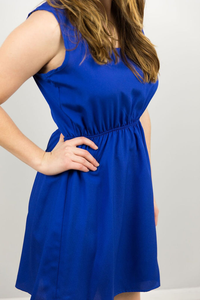 Elysian Flirty Scalloped Dress in Royal
