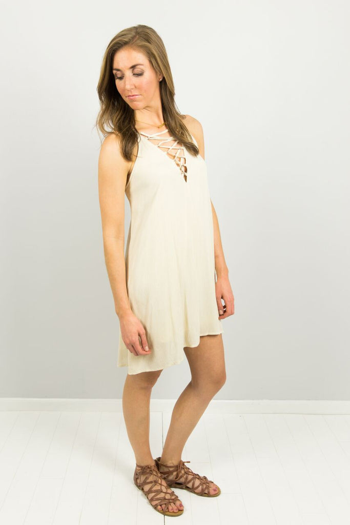 Vanilla Bean Lace Up Dress