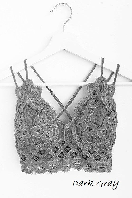 Beautiful crochet lace bralette in dark gray