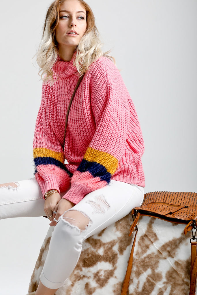 Pink Color Block Sweater