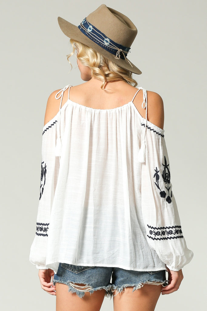 Cold Shoulder Embroidery Top