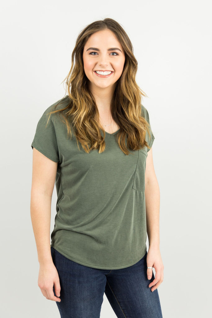 Basic Pocket Tee in Olive