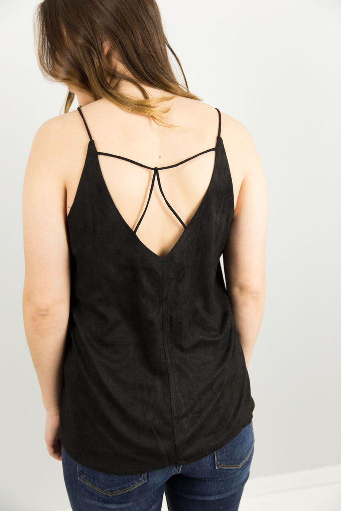 Suede Cami with Cross Strap Detail