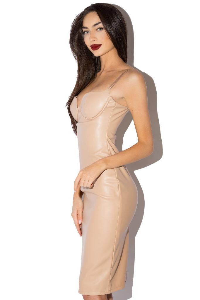 The Elena PU Leather Dress