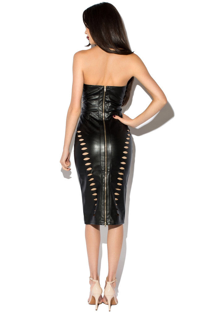 The Black Sexy Leatherette Cut Out Strapless PU Leather Dress