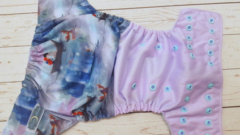 Sea Love (lavender pul, seaspray awj, two toned snaps; med. purple caps, seaspray pieces) <br>Half & Half, One Size Pocket Diaper<br>Instock and Ready to Ship