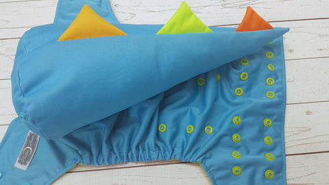 Aqua WITH Dino Tail (spring green awj, two toned snaps; aqua caps, apple pieces) <br>One Size Pocket Diaper<br>Instock and Ready to Ship