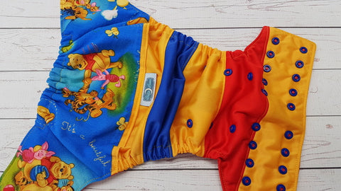 Pooh Bear And Friends (red awj, two toned snaps; red caps, royal blue pieces) <br>Wrapped Crazy Scrappy, One Size Pocket Diaper<br>Instock and Ready to Ship