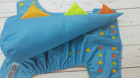 Aqua WITH Dino Tail (spring green awj, multi snaps; orange, marigold, apple alternating) <br>One Size Pocket Diaper<br>Instock and Ready to Ship