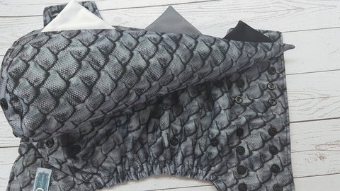 Monochrome Scales WITH Dino Tail (black awj & snaps) <br>One Size Pocket Diaper<br>Instock and Ready to Ship