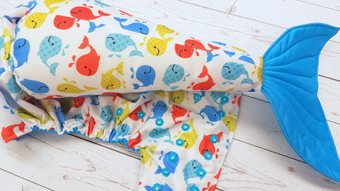 Whale Of A Tail WITH Coordinating Whale Tail <br>One Size Pocket Diaper<br>Instock and Ready to Ship