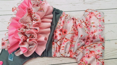 Cherry Blossom WITH Coordinating Ruffle (raspberry awj, two toned snaps; hot pink caps, light pink pieces) <br>Half & Half, One Size Pocket Diaper<br>Instock and Ready to Ship