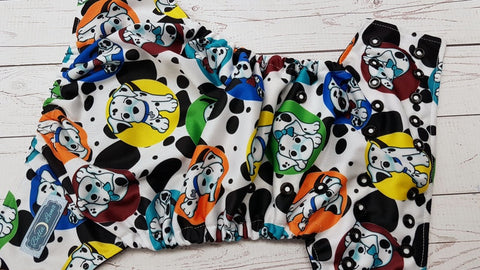Spotted Pups (black awj, two toned snaps; white caps, black pieces) <br>Traditional, One Size Pocket Diaper<br>Instock and Ready to Ship