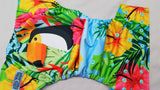 *RESERVED* Cover- Tropical Toucan ( seaspray inner, two toned snaps; apple caps, seaspray pieces) 6.15 <br>Performance Knit Traditional, One Size Cover<br>Instock and Ready to Ship