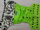 Neon Wars (rebel alliance) (neon green pul, white awj, black snaps) <br>Wrap Around, One Size Pocket Diaper<br>Instock and Ready to Ship