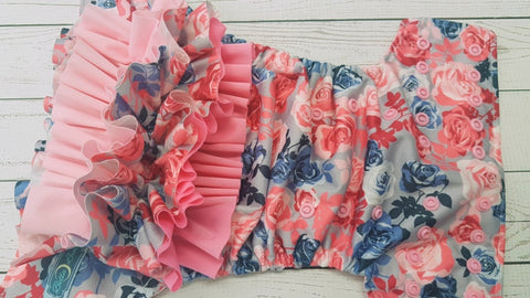 Samantha Rose WITH Coordiating Ruffle (light pink awj & snaps) <br>Traditional, One Size Pocket Diaper<br>Instock and Ready to Ship