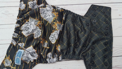 Golden Roses (black awj & snaps) <br>Performance Knit Traditional, One Size Pocket Diaper<br>Instock and Ready to Ship