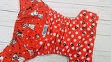 Puppy Dots ( black awj, two toned snaps; white caps, black pieces) <br>Printed PUL Wrap Around, One Size Pocket Diaper<br>Instock and Ready to Ship