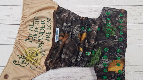 Wander In The Woods ( brown awj, two toned snaps; brown caps, kelly pieces) <br>Printed PUL Wrap Around, One Size Pocket Diaper<br>Instock and Ready to Ship