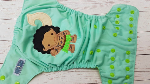 LE Island Demigod Embroidered (LE Dark Mint pul, spring green awj, apple snaps) <br>Embroidered, One Size Pocket Diaper<br>Instock and Ready to Ship