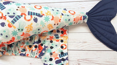 Sea Life  WITH Coordinating Whale Tail <br>One Size Pocket Diaper<br>Instock and Ready to Ship
