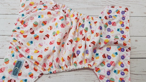 Cupcake Party (raspberry awj, two toned snaps; light pink caps, med purple pieces) <br>Performance Knit Traditional, One Size Pocket Diaper<br>Instock and Ready to Ship