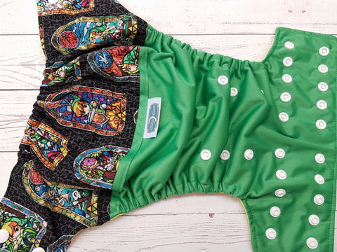 Stained Glass Warrior (kelly pul, citron awj, white snaps) <br>Wrap Around, One Size Pocket Diaper<br>Instock and Ready to Ship