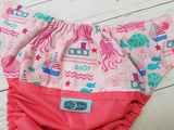 Pretty in Pink At Sea (neon pink pul, seaspray awj, two toned snaps; hot pink caps, seaspray pieces) <br>Wrap Around, One Size Pocket Diaper<br>Instock and Ready to Ship