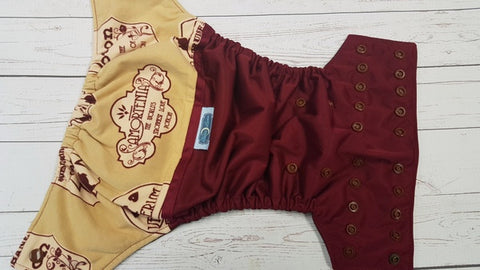 Potions Shop (burgundy pul, brown awj & snaps) <br>Wrap Around, One Size Pocket Diaper<br>Instock and Ready to Ship