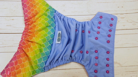 Rainbow Scale (LE blue pul, violet awj, two toned snaps; hot pink caps, violet pieces) <br>Wrap Around, One Size Pocket Diaper<br>Instock and Ready to Ship