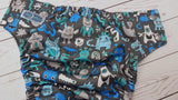 Many Little Monsters (seaspray awj, silver snaps) <br>Performance Knit Traditional, One Size Pocket Diaper<br>Instock and Ready to Ship