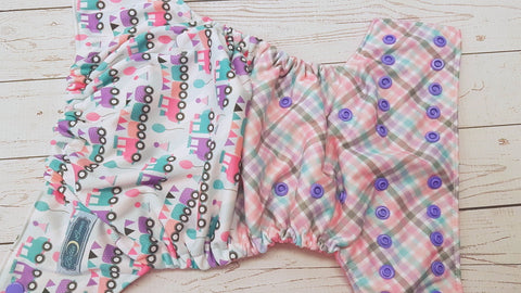 Cho Cho Pink Exclusive (raspberry awj, med. purple snaps) <br>Performance Knit Traditional, One Size Pocket Diaper<br>Instock and Ready to Ship