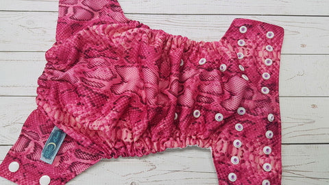 Magenta Snake Skin (white awj, two toned snaps; violet caps, white pieces) <br>Traditional, One Size Pocket Diaper<br>Instock and Ready to Ship