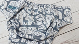 Whimsical Wildlife (white awj & snaps) <br>Performance Knit Traditional, One Size Pocket Diaper<br>Instock and Ready to Ship