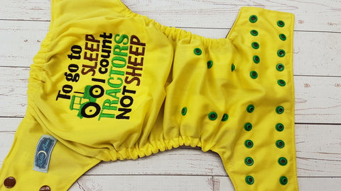 Tractors Not Sheep  (citron pul, brown awj, two toned snaps; brown caps, kelly pieces)<br>Embroidered, One Size Pocket Diaper<br>Instock and Ready to Ship