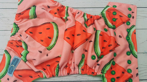 Watermelon Slice (spring green awj, two toned snaps; apple caps, kelly pieces) <br>Performance Knit Traditional, One Size Pocket Diaper<br>Instock and Ready to Ship