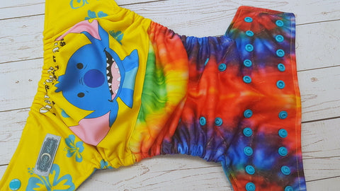 Tye Dye Ohana (aqua awj & snaps) <br>Performance Knit Traditional, One Size Pocket Diaper<br>Instock and Ready to Ship