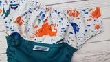 Dory's Friend Hank (teal pul, orange awj & snaps) <br>Wrap Around, One Size Pocket Diaper<br>Instock and Ready to Ship